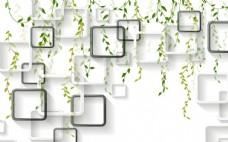 綠色樹藤方塊電視背景墻