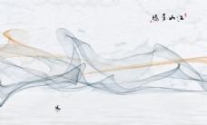 江山多娇抽象线条水墨背景