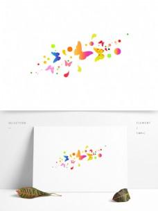 彩色卡通装饰圆形蝴蝶元素