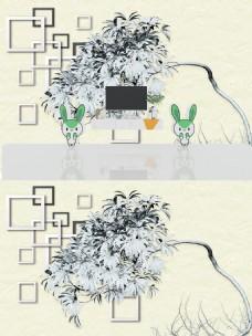 新中式立体背景墙