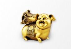 金色活潑小豬雕像