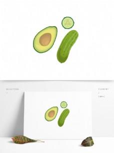 蔬菜水果牛油果和黄瓜矢量卡通