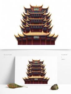 手绘黄鹤楼建筑插画