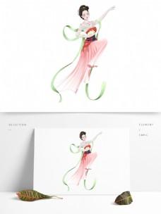 唯美中秋节抱着玉兔的嫦娥设计