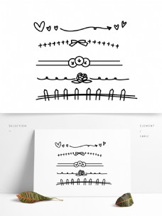 手绘卡通简约分割线素材