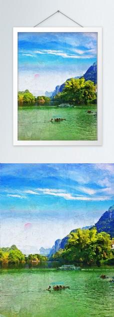 现代桂林山水油画风景客厅酒店饭店装饰画
