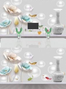 时尚3D浮雕花朵背景墙