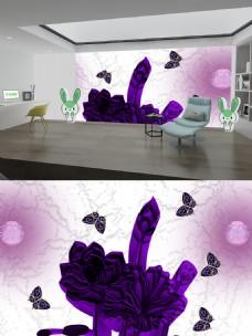 上2气泡紫荷花银色上背景墙