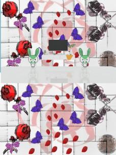 玫瑰花瓣落蝶飞电视背景墙