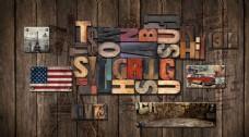 复古美式木雕英文字母背景墙