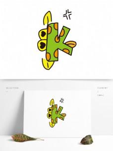 矢量卡通创意动物字母K