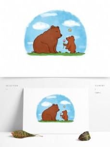 可爱卡通大小棕熊妈妈孩子送花感恩场景元素