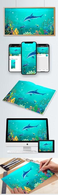 蓝色卡通世界海洋日系列插画设计