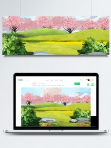 绿色清新春季树林背景设计