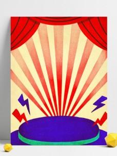卡通手绘复活节舞台插画背景