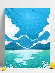 蓝色夏季下雨背景素材