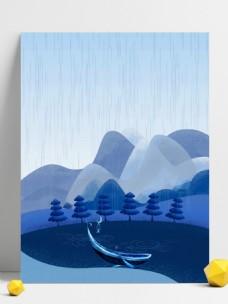 蓝色远山树林池塘下雨背景素材