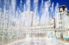 广场喷泉彩虹