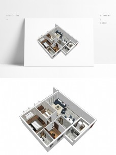 SU模型样板房透视模型