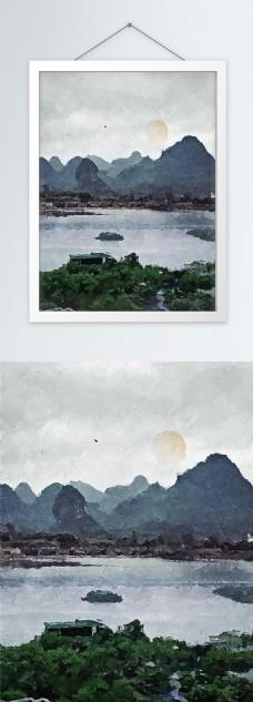 十大名胜桂林山水风景油画酒店饭店装饰画