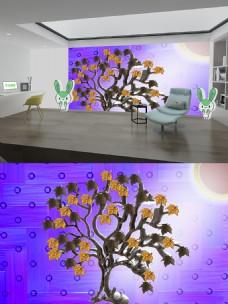 紫上枫叶棕树晕光背景墙