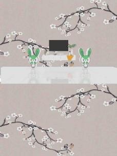 新中式花鸟背景墙