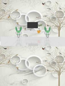 新中式抽象花鸟背景墙