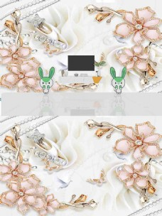 现代简约时尚浮雕珠宝花朵背景墙