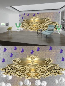 金色梅花白珠子背景墙