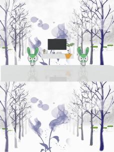 北欧抽象树林墙面背景墙