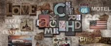 复古破旧墙壁英文字母工装背景墙