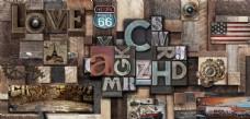 复古木雕英文字母工装背景墙