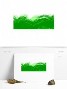 绿色水彩植物卡通透明素材