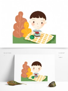 手绘可爱男孩吃西瓜场景