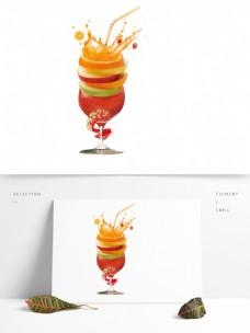 手绘饮料杯上的果汁设计元素