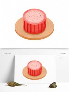 美味西瓜蛋糕插画元素设计