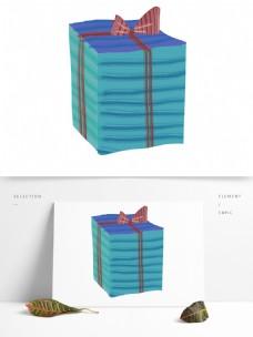 手绘卡通蓝色礼物png元素