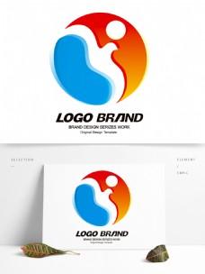 简约现代红蓝飞鸟公司标志LOGO设计