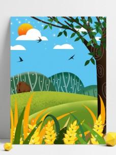 夏季小满节气草地麦穗背景素材