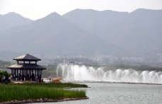 喷泉 音乐喷泉 喷泉景观 湖泊