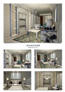 现代极简客厅波浪纹大理石背景墙室内装修图