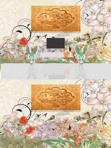 新中式手绘花朵装饰背景墙