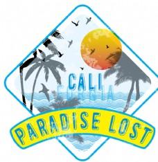 椰树海滩太阳T恤印花