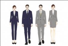 服装效果图男女西服套装系列