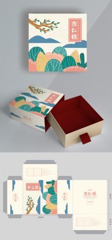 杏仁糕小清新手绘食品包装盒