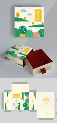 小清新桂花糕手绘插画食品包装盒