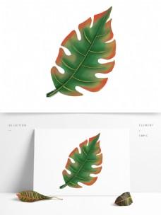 手绘的绿色叶子元素素材