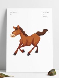 矢量手绘卡通动物骏马小马