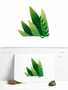 手绘绿色叶子装饰图案