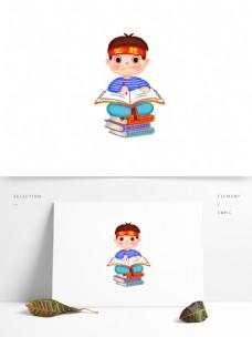 认真学习的男孩图案